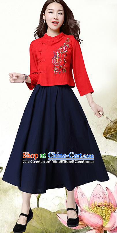 Traditional Ancient Chinese National Costume, Elegant Hanfu Shirt, China Tang Suit Long Sleeve Red Embroidered Stand Collar Blouse Cheongsam Upper Outer Garment Shirt Clothing for Women