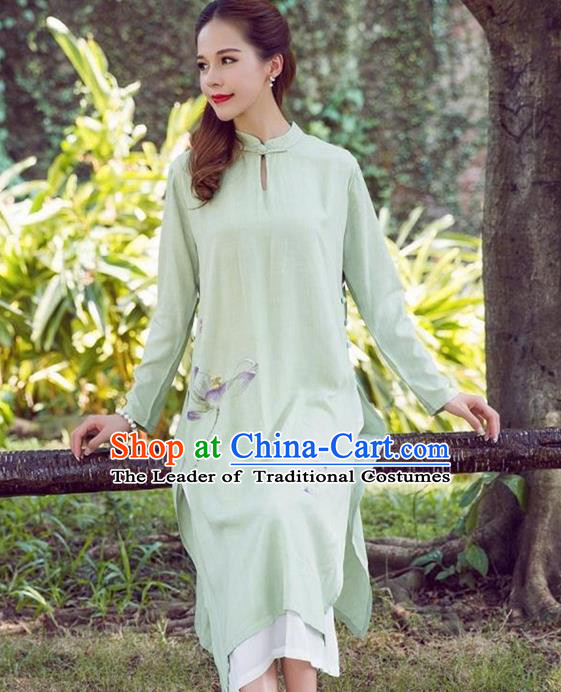 Traditional Ancient Chinese National Costume, Elegant Hanfu Green Printing Dress, China National Minority Tang Suit Cheongsam Upper Outer Garment Dress Clothing for Women