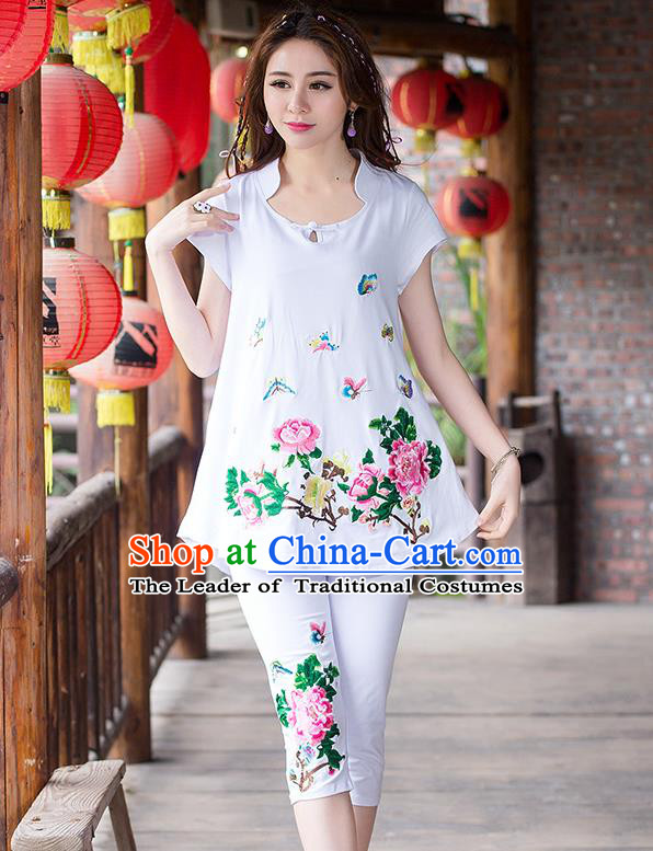 Traditional Ancient Chinese National Costume, Elegant Hanfu Embroidered T-Shirt and Pants, China Tang Suit Embroidered Butterfly White Blouse Cheongsam Upper Outer Garment Clothing for Women