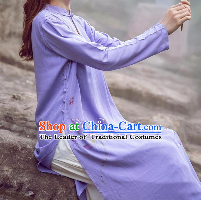 Traditional Ancient Chinese National Costume, Elegant Hanfu Purple Printing Dress, China National Minority Tang Suit Cheongsam Upper Outer Garment Dress Clothing for Women