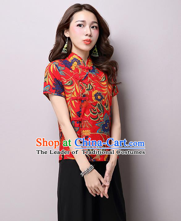 Traditional Ancient Chinese National Costume, Elegant Hanfu Plated Buttons Shirt, China Tang Suit Embroidered Red Blouse Cheongsam Upper Outer Garment Shirts Clothing for Women