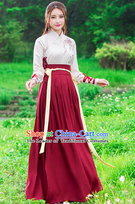 Traditional Ancient Chinese Ancient Costume, Elegant Hanfu Clothing Embroidered Dress, China Ming Dynasty Elegant Embroidered Blouse and Dress Complete Set for Women