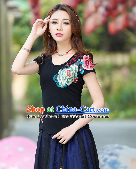 Traditional Ancient Chinese National Costume, Elegant Hanfu Round Collar T-Shirt, China Tang Suit Embroidered Peony Black Blouse Cheongsam Upper Outer Garment Shirts Clothing for Women