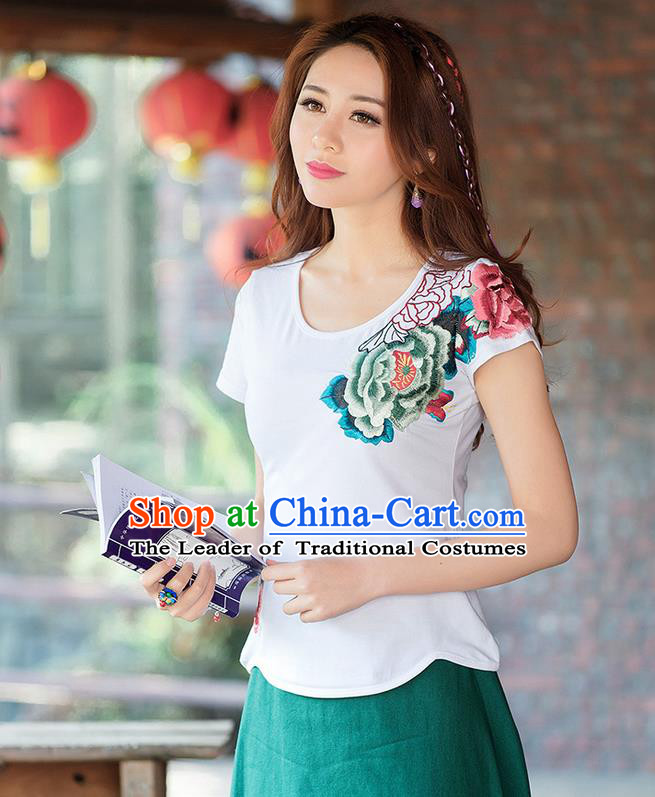 Traditional Ancient Chinese National Costume, Elegant Hanfu Round Collar T-Shirt, China Tang Suit Embroidered Peony White Blouse Cheongsam Upper Outer Garment Shirts Clothing for Women