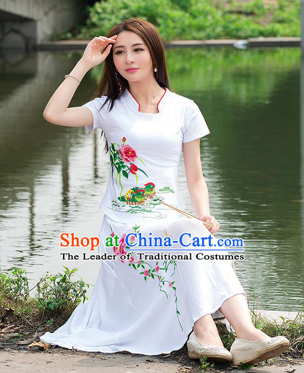 Traditional Ancient Chinese National Costume, Elegant Hanfu Round Collar T-Shirt, China Tang Suit Embroidered Mandarin Duck Peony White Blouse Cheongsam Upper Outer Garment Shirts Clothing for Women