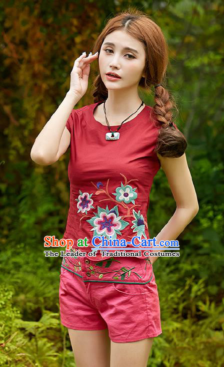 Traditional Ancient Chinese National Costume, Elegant Hanfu Short Sleeve T-Shirt, China Tang Suit Embroidered Red Blouse Cheongsam Upper Outer Garment Shirts Clothing for Women