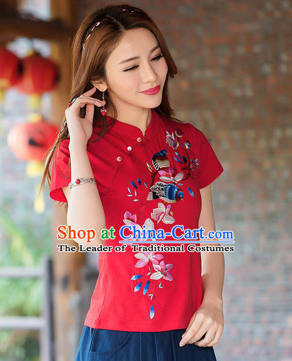 Traditional Ancient Chinese National Costume, Elegant Hanfu Stand Collar T-Shirt, China Tang Suit Embroidered Peach Blossom Red Blouse Cheongsam Upper Outer Garment Shirts Clothing for Women