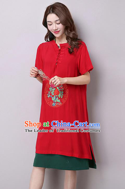 Traditional Ancient Chinese National Costume, Elegant Hanfu Stand Collar Embroidered Flax Dress, China Tang Suit Mandarin Collar Cheongsam Upper Outer Garment Red Dress Clothing for Women