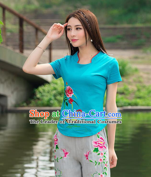 Traditional Ancient Chinese National Costume, Elegant Hanfu Round Collar T-Shirt, China Tang Suit Embroidered Mandarin Duck Peony Blue Blouse Cheongsam Upper Outer Garment Shirts Clothing for Women