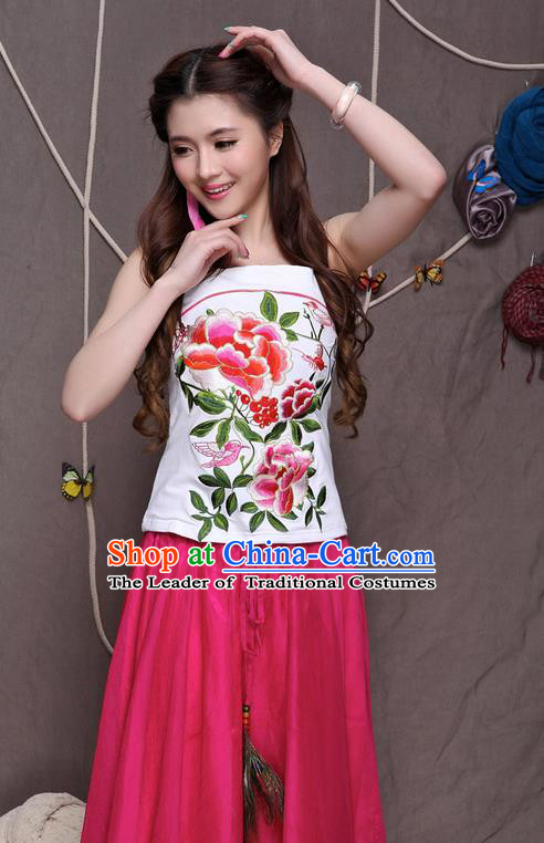 Traditional Ancient Chinese National Costume, Elegant Hanfu Halter Camisole Sleeveless Vests, China National Minority Tang Suit White Embroidered Peony Waistcoat Upper Outer Garment Clothing for Women