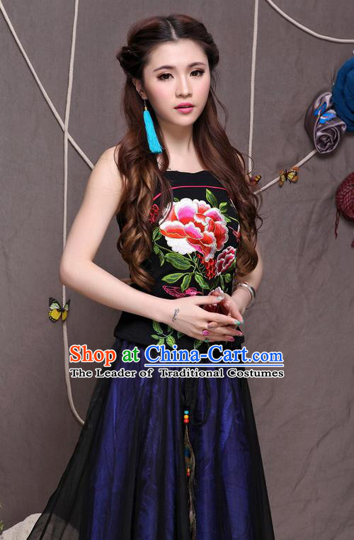 Traditional Ancient Chinese National Costume, Elegant Hanfu Halter Camisole Sleeveless Vests, China National Minority Tang Suit Black Embroidered Red Peony Waistcoat Upper Outer Garment Clothing for Women