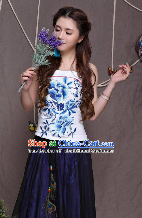 Traditional Ancient Chinese National Costume, Elegant Hanfu Halter Camisole Sleeveless Vests, China National Minority Tang Suit White Embroidered Blue Peony Waistcoat Upper Outer Garment Clothing for Women