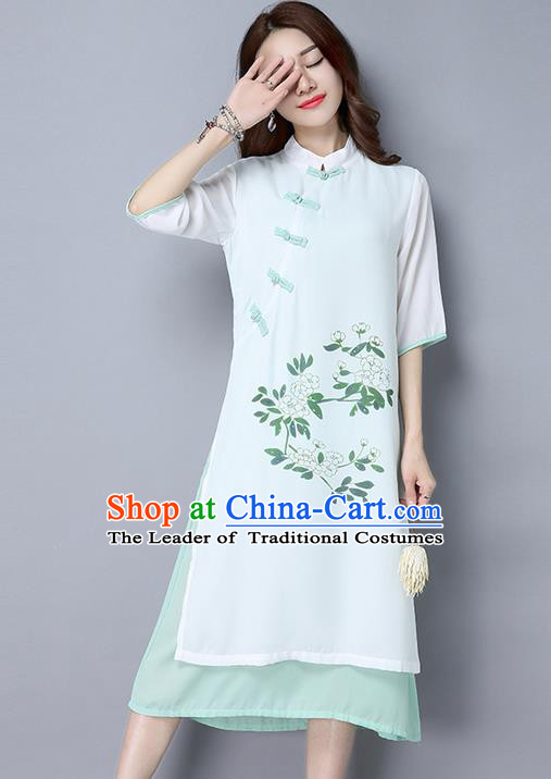 Traditional Ancient Chinese National Costume, Elegant Hanfu Hand Printing Stand Collar Dress, China Tang Suit Cheongsam Upper Outer Garment White Blue Elegant Dress Clothing for Women