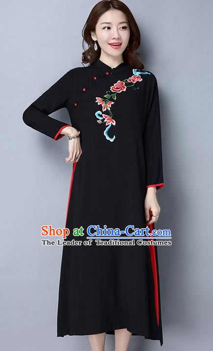 Traditional Ancient Chinese National Costume, Elegant Hanfu Embroidering Flowers Dress, China Tang Suit Cheongsam Upper Outer Garment Black Elegant Dress Clothing for Women