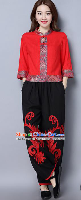 Traditional Ancient Chinese National Costume Loose Pants, Elegant Hanfu Embroidered Pants, China Tang Suit Linen Black Wide Leg Pants for Women