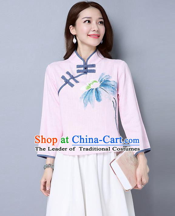 Traditional Ancient Chinese National Costume, Elegant Hanfu Plated Buttons Shirt, China Tang Suit Printing Pink Blouse Cheongsam Upper Outer Garment Qipao Shirts Clothing for Women