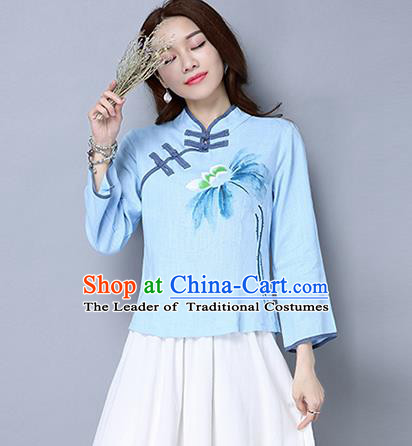 Traditional Ancient Chinese National Costume, Elegant Hanfu Plated Buttons Shirt, China Tang Suit Printing Blue Blouse Cheongsam Upper Outer Garment Qipao Shirts Clothing for Women
