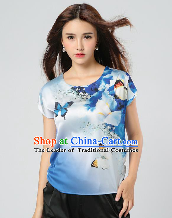 Traditional Ancient Chinese National Costume, Elegant Hanfu Mulberry Silk Shirt, China Tang Suit Silk Printing Butterfly Blue Blouse Cheongsam Upper Outer Garment Qipao Shirt Clothing for Women
