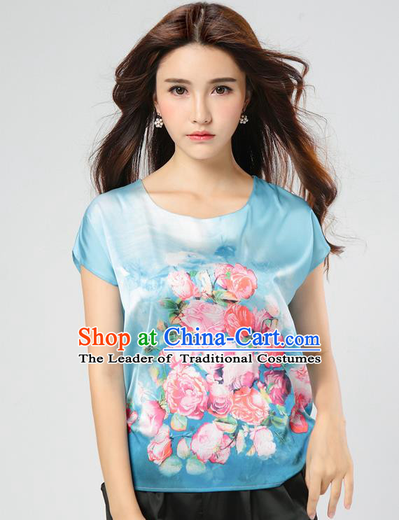 Traditional Ancient Chinese National Costume, Elegant Hanfu Mulberry Silk Shirt, China Tang Suit Silk Printing Flowers Blue Blouse Cheongsam Upper Outer Garment Qipao Shirt Clothing for Women