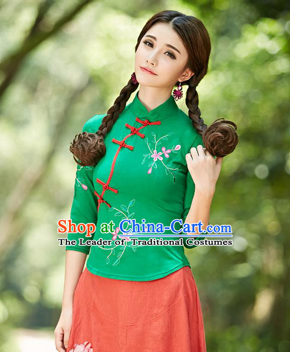 Traditional Ancient Chinese National Costume, Elegant Hanfu Plated Buttons Green Shirt, China Tang Suit Embroidery Plum Blossom Blouse Cheongsam Blouse Upper Outer Garment Shirt Clothing for Women