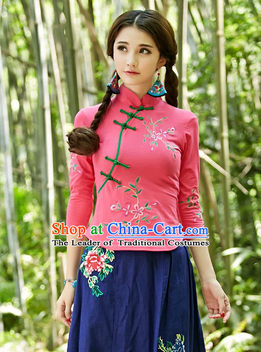 Traditional Ancient Chinese National Costume, Elegant Hanfu Plated Buttons Pink Shirt, China Tang Suit Embroidery Plum Blossom Blouse Cheongsam Blouse Upper Outer Garment Shirt Clothing for Women