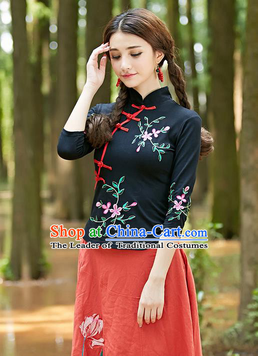 Traditional Ancient Chinese National Costume, Elegant Hanfu Plated Buttons Black Shirt, China Tang Suit Embroidery Plum Blossom Blouse Cheongsam Blouse Upper Outer Garment Shirt Clothing for Women