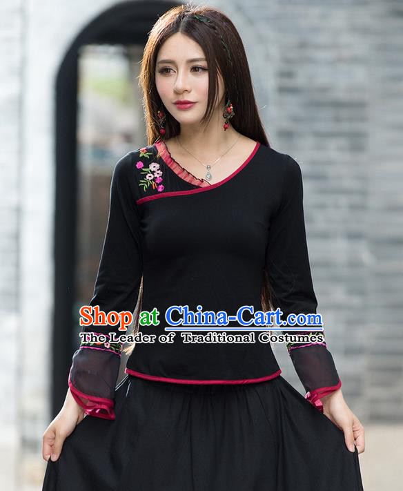 Traditional Ancient Chinese National Costume, Elegant Hanfu Embroidered T-Shirt, China Tang Suit Embroidered Mandarin Sleeve Blouse Cheongsam Upper Outer Garment Shirts Clothing for Women