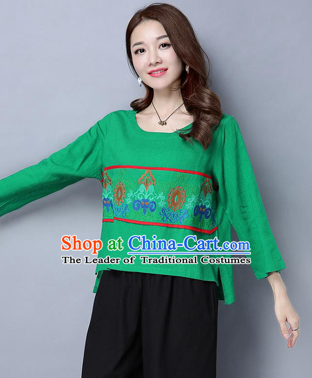 Traditional Ancient Chinese National Costume, Elegant Hanfu Embroidered Round Collar Shirt, China Tang Suit Green Blouse Cheongsam Upper Outer Garment Qipao Shirts Clothing for Women