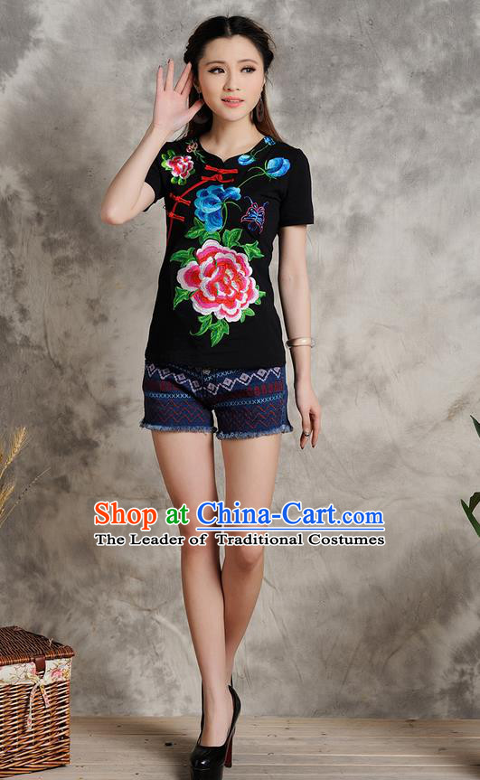 Traditional Ancient Chinese National Costume, Elegant Hanfu Embroidered Peony T-Shirt, China Tang Suit Embroidered Black Blouse Cheongsam Upper Outer Garment Shirts Clothing for Women