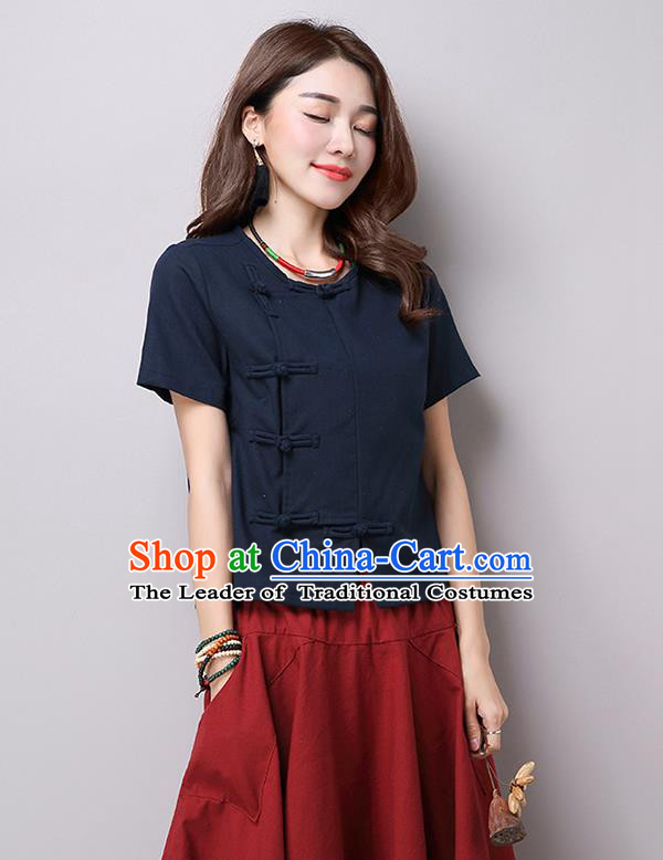 Traditional Ancient Chinese National Costume, Elegant Hanfu Plated Buttons T-Shirt, China Tang Suit Navy Blouse Cheongsam Upper Outer Garment Shirts Clothing for Women