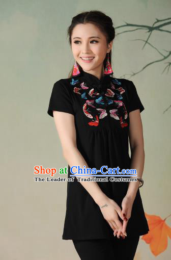 Traditional Ancient Chinese National Costume, Elegant Hanfu Embroidered Butterfly Stand Collar T-Shirt, China Tang Suit Black Blouse Cheongsam Upper Outer Garment Qipao Shirts Clothing for Women