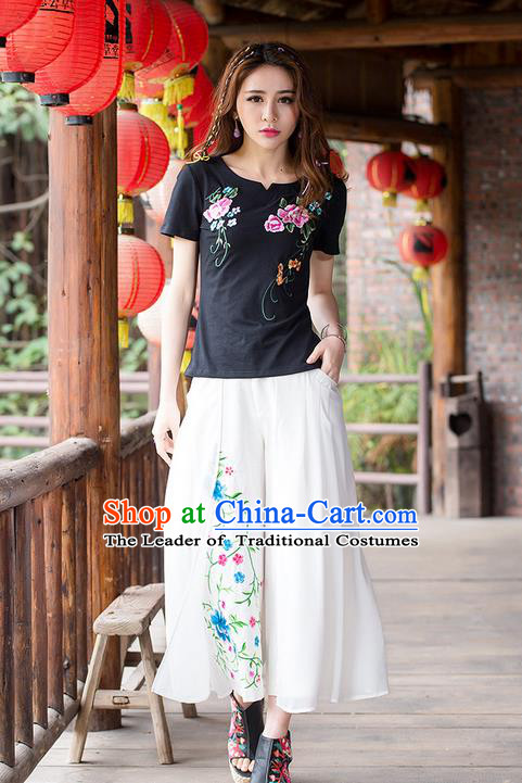 Traditional Ancient Chinese National Costume Loose Pants, Elegant Hanfu Embroidering Flower White Pants, China Tang Suit Linen Wide Leg Pants for Women