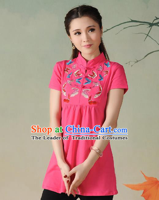 Traditional Ancient Chinese National Costume, Elegant Hanfu Embroidered Butterfly Stand Collar T-Shirt, China Tang Suit Pink Blouse Cheongsam Upper Outer Garment Qipao Shirts Clothing for Women