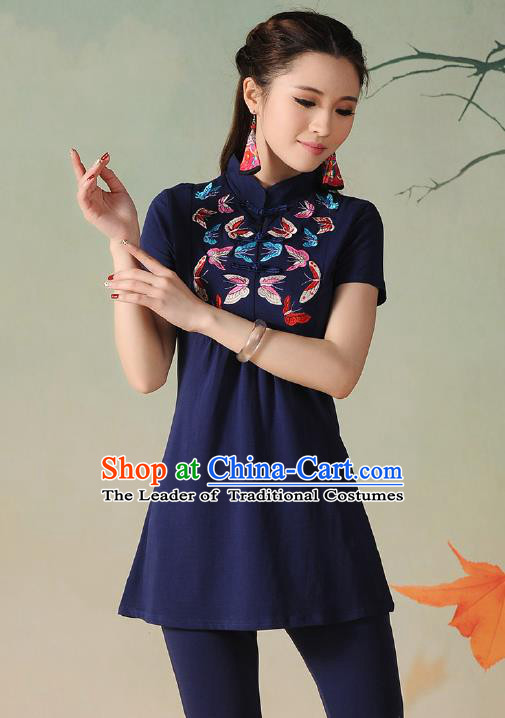 Traditional Ancient Chinese National Costume, Elegant Hanfu Embroidered Butterfly Stand Collar T-Shirt, China Tang Suit Navy Blouse Cheongsam Upper Outer Garment Qipao Shirts Clothing for Women