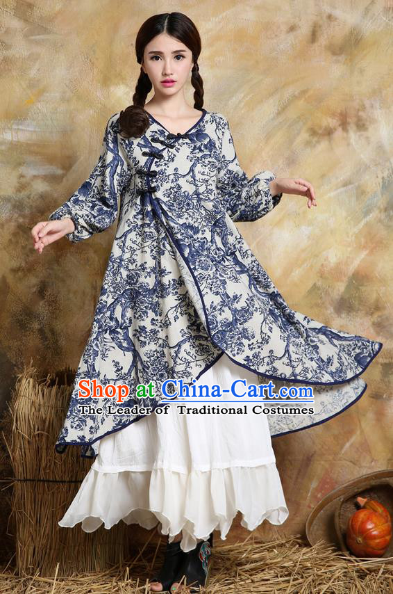 Traditional Ancient Chinese National Costume, Elegant Hanfu Cardigan Coat, China Tang Suit Plated Buttons Cape, Upper Outer Garment Blue Dust Coat Cloak Clothing for Women