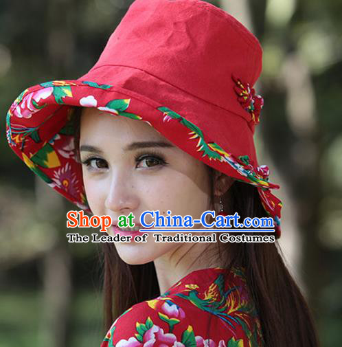 Traditional Chinese National Embroidered Phoenix Crafts Headgear Sunhat, China National Minority Handmade Embroidered Red Hat for Women