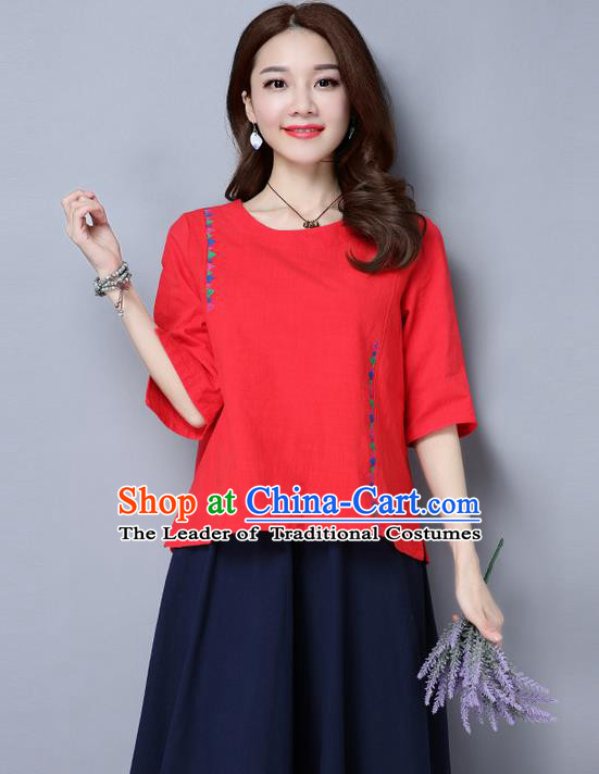 Traditional Ancient Chinese National Costume, Elegant Hanfu Embroidered T-Shirt, China Tang Suit Embroidered Red Blouse Cheongsam Upper Outer Garment Qipao Shirts Clothing for Women