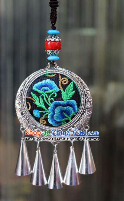 Traditional Chinese Miao Nationality Crafts Jewelry Accessory, Hmong Handmade Miao Silver Tassel Double Side Embroidery Flowers Pendant, Miao Ethnic Minority Bells Black Rope Necklace Accessories Sweater Chain Pendant for Women