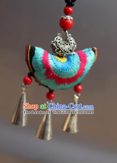 Traditional Chinese Miao Nationality Crafts Jewelry Accessory, Hmong Handmade Miao Silver Bells Tassel Double Side Embroidery Pendant, Miao Ethnic Minority Bells Necklace Accessories Sweater Chain Pendant for Women
