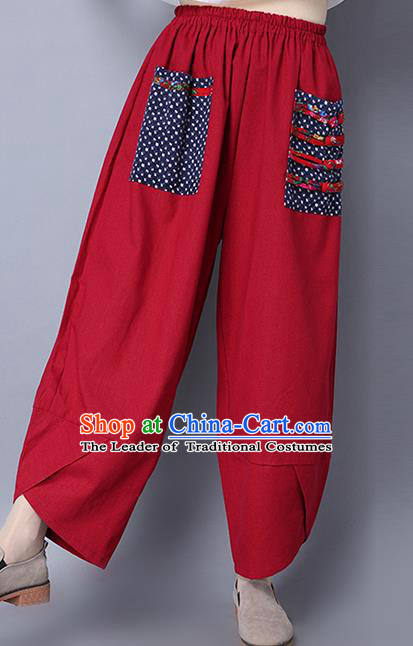 Traditional Ancient Chinese National Costume Loose Pants, Elegant Hanfu Plated Buttons Pants, China Tang Suit Red Wide Leg Pants for Women