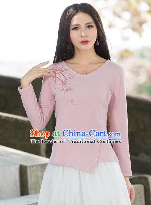 Traditional Ancient Chinese National Costume, Elegant Hanfu Embroidered T-Shirt, China Tang Suit Embroidered Pink Blouse Cheongsam Upper Outer Garment Qipao Shirts Clothing for Women