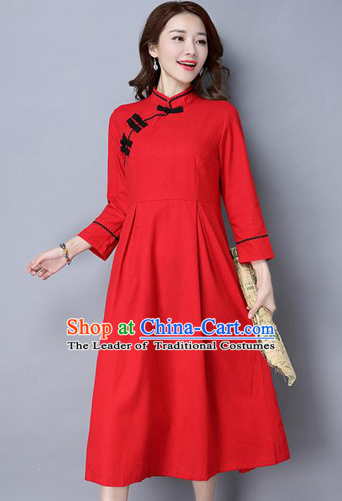 Traditional Ancient Chinese National Costume, Elegant Hanfu Plated Buttons Qipao Dress, China Tang Suit Cheongsam Upper Outer Garment Red Elegant Dress Clothing for Women