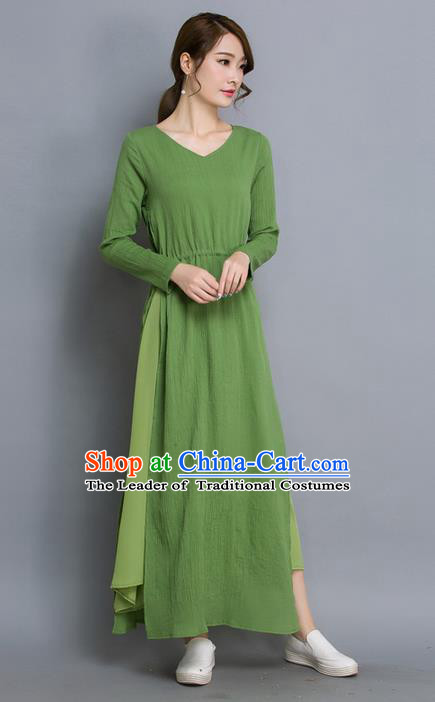 Traditional Ancient Chinese National Costume, Elegant Hanfu Qipao Dress, China Tang Suit Cheongsam Upper Outer Garment Elegant Green Dress Clothing for Women