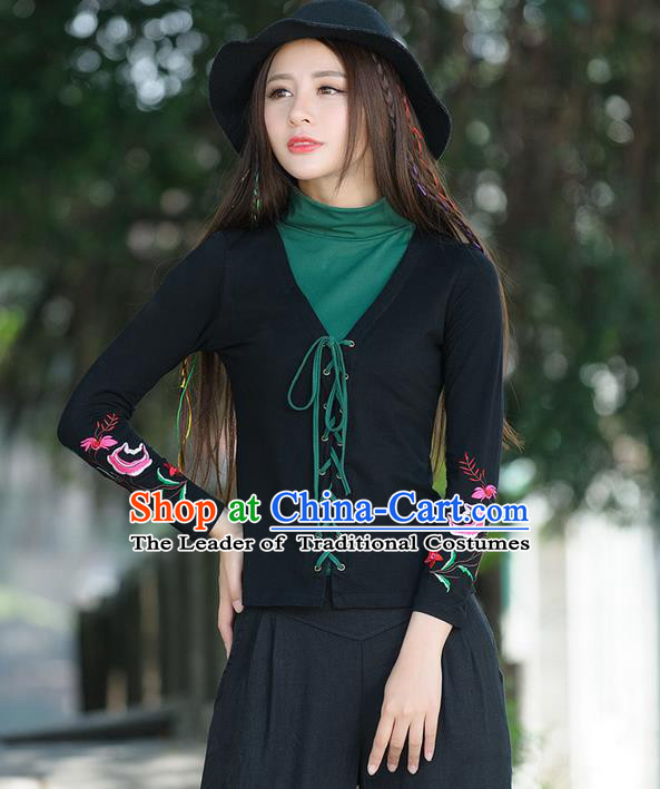 Traditional Ancient Chinese National Costume, Elegant Hanfu Bandage Qipao T-Shirt, China Tang Suit Embroidered Blouse Cheongsam Upper Outer Garment Shirts Clothing for Women