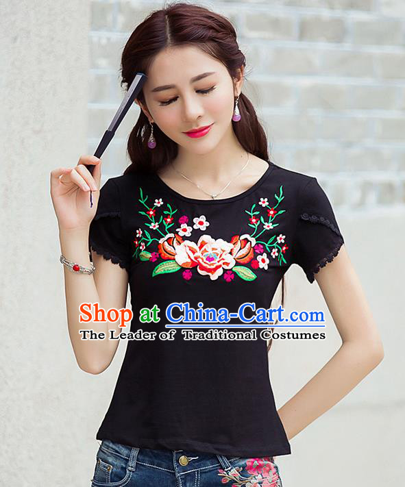 Traditional Ancient Chinese National Costume, Elegant Hanfu Short Sleeve T-Shirt, China Tang Suit Embroidered Peony Black Blouse Cheongsam Upper Outer Garment Shirts Clothing for Women