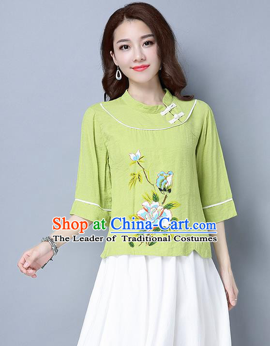 Traditional Ancient Chinese National Costume, Elegant Hanfu Stand Collar Plated Buttons Qipao T-Shirt, China Tang Suit Embroidered Green Blouse Cheongsam Upper Outer Garment Shirts Clothing for Women