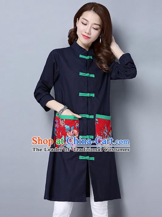 Traditional Ancient Chinese National Costume, Elegant Hanfu Long Coat, China Tang Suit Plated Buttons Coats, Upper Outer Garment Navy Dust Coat Clothing for Women