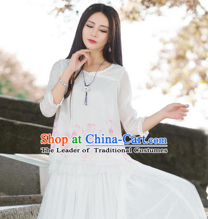 Traditional Ancient Chinese National Costume, Elegant Hanfu Printing T-Shirt, China Tang Suit Lace Edge Blouse Cheongsam Upper Outer Garment Qipao Shirts Clothing for Women