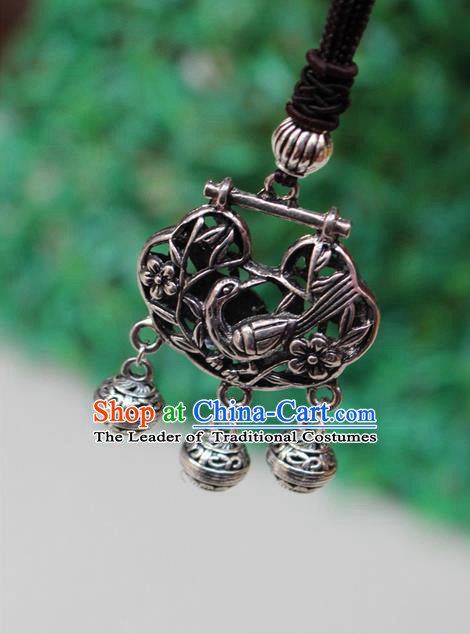 Traditional Chinese Miao Nationality Crafts Jewelry Accessory, Hmong Handmade Miao Silver Bells Tassel Longevity Lock Phoenix Pendant, Miao Ethnic Minority Necklace Accessories Sweater Chain Pendant for Women