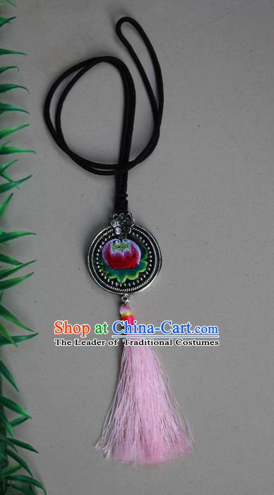 Traditional Chinese Miao Nationality Crafts Jewelry Accessory, Hmong Handmade Miao Silver Tassel Embroidery Pendant, Miao Ethnic Minority Necklace Accessories Sweater Chain Pendant for Women